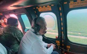 AMLO supervisa obras del Tren Maya en sobrevuelo por el sureste de México