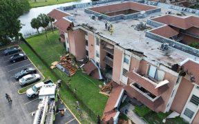 Colapsa parte del techo de un edificio en Miami tres semanas después del derrumbe en Surfside