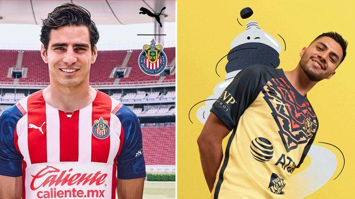 El uniforme de Chivas respeta la tradición de la playera rojiblanca; el de América conserva el amarillo, pero añade detalles novedosos. (Foto: Club Guadalajara y Club América).
