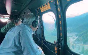 AMLO supervisa carreteras de Sinaloa y Durango a bordo de helicóptero