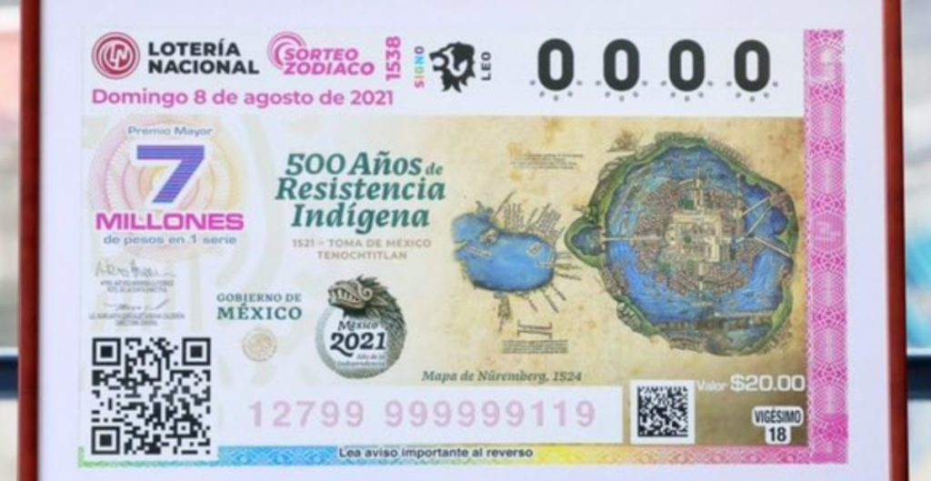 Lotería Nacional de México lanza billete con un mapa de Tenochtitlán