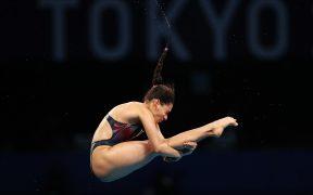 Gaby Agúndez, en su primer salto en la semifinal de plataforma de 10 metros. (Foto: Reuters):