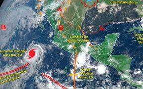 "Huracán ""Linda"" evoluciona a categoría 2 al suroeste de la península de Baja California"
