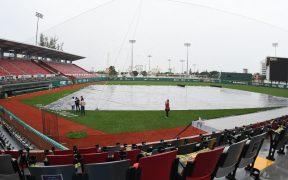 La lluvia impidió que se disputara el juego 3 de la Serie en el Beto Ávila. (Foto: @DiablosRojosMX).