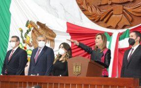 Lorena Cuéllar rinde protesta como gobernadora de Tlaxcala