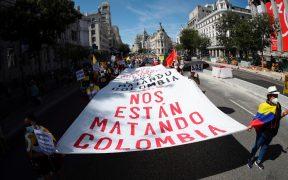 Colombianos protestan en España contra la próxima visita de Iván Duque