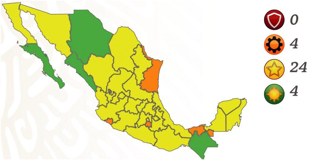 Edomex pasa a amarillo y Sinaloa a verde en el semáforo epidemiológico; hay 24 estados en color amarillo