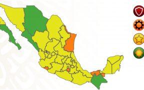 Edomex pasa a amarillo y Sinaloa a verde en el semáforo epidemiológico; aún hay 4 estados en naranja