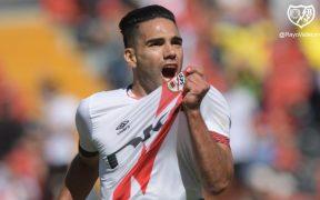 Falcao celebra su gol frente al Getafe. (Foto: @RayoVallecano).
