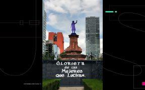"""Colocan antimonumenta dedicada a """"las mujeres que luchan"""" en la glorieta de Colón"""