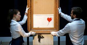 """""""Love is in the Bin"""", el Banksy medio triturado, se vende en 25.4 millones de dólares"""